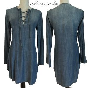 Cloth Stone Blue Chambray Bell Sleeve Laceup Dress